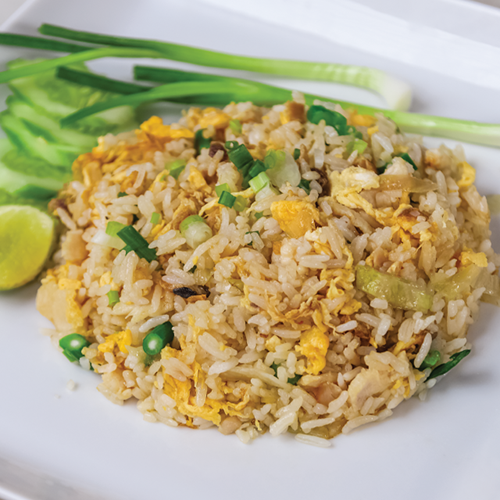 Fried rice with chicken and preserved fish