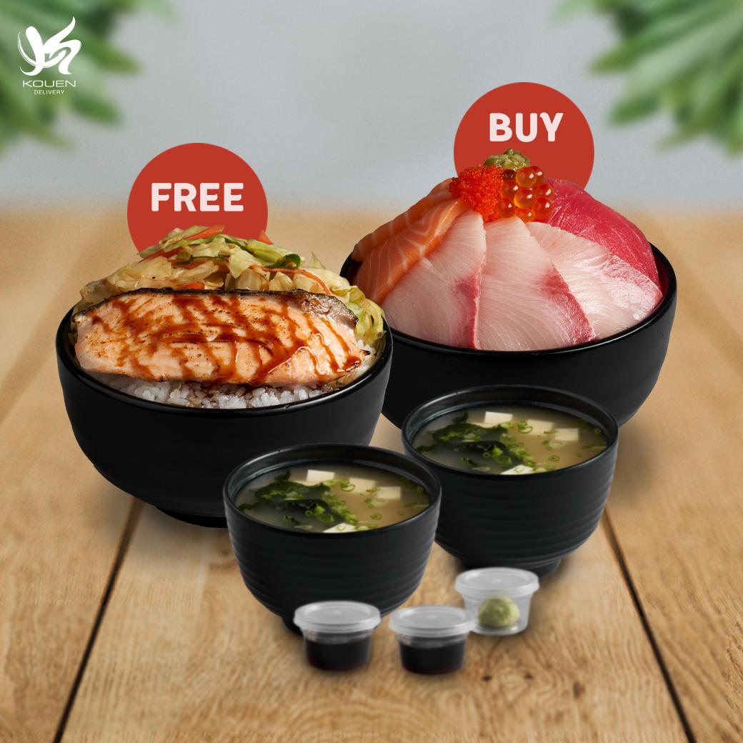 1Free1 : Sanshoku Don Set  Free Salmon Teriyaki Don Set