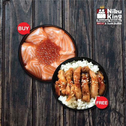 Salmon Ikura Donburi Free Tori Steak Donburi