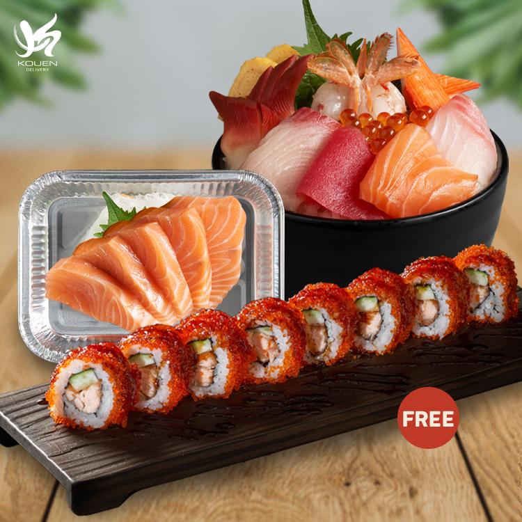 Yutaka Don Set + Salmon Sashimi get free Salmon Karaage Roll