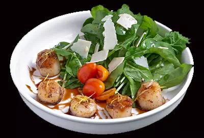 Rocket Salad with Grilled Scallops