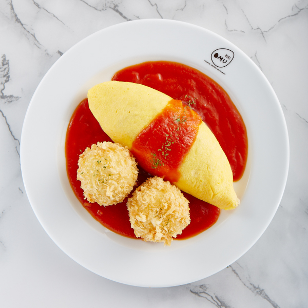 Tomato Sauce Omurice With Cream Croquette