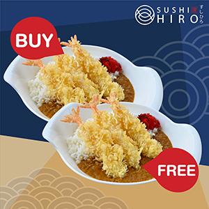[ 1 Free 1 ] Ebi Tempura Curry Rice