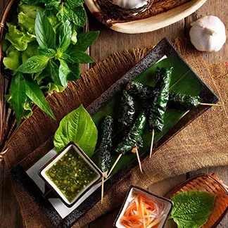 Grilled Pork Wrapped in Wild Betel leaves