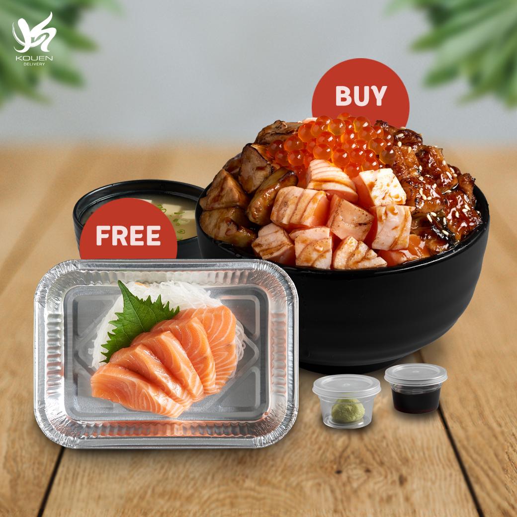 1Free1 : Triple Premium Don Set Free Salmon Sashimi 100 g
