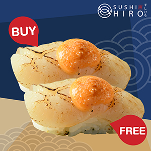 [ 1 Free 1 ] Hotate Mentai Sushi