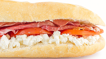 Prosciutto di San Daniele DOP, soft feta cheese, sliced tomato, drizzled with olive oil and italian dressing
