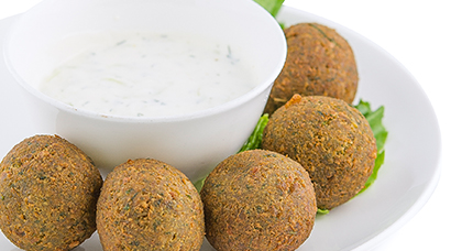 5 homemade falafels served with our homemade tzatziki sauce.