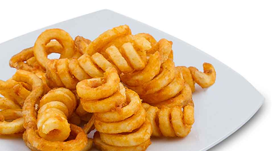 Sack of awesome curly fries. Comes with ketchup.